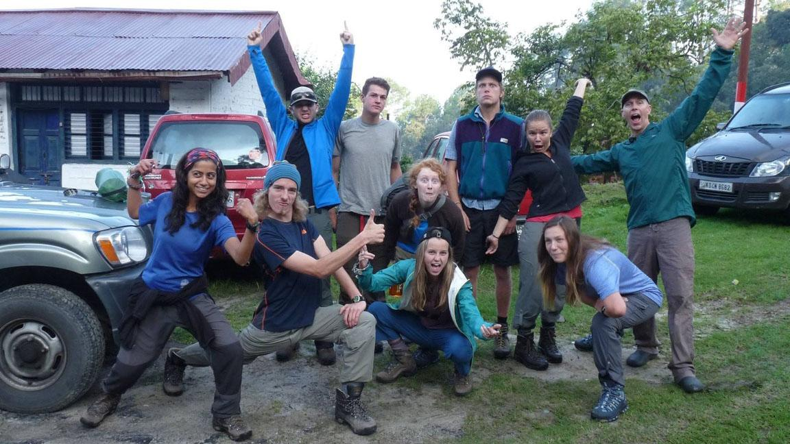 Alumna Lauren Larrabee (in turquoise jacket at center) and her group gather before beginning their month-long backpacking trip in India. They hiked at least eight miles every day. The National Outdoor Leadership School trip was part of her curriculum at Colorado College, where she will begin studying in January.
