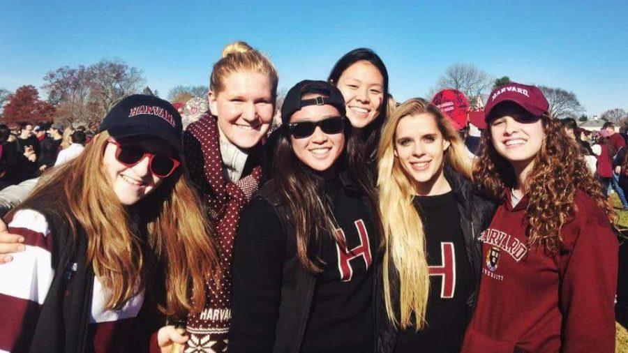 Claire+Pinson%2C+%2715%2C++%28second+from+left%29+and+her+friends+tailgate+at+a+Harvard+football+game+against+Yale.+%22We+won%21+Again%21%22+Pinson+said.+