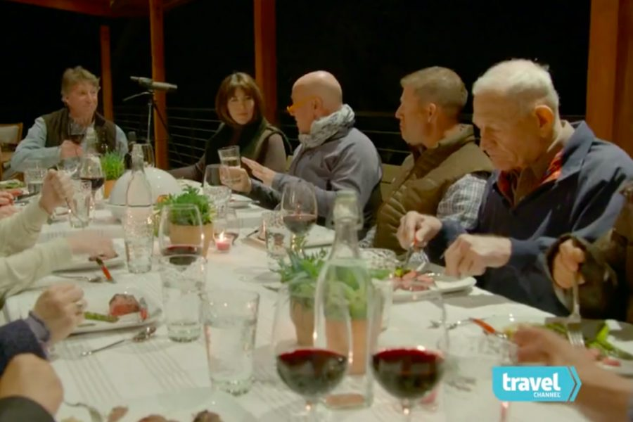 Senior's family farm featured on 'Bizarre Foods' episode; stressful filming turns fun after night of eating, talking